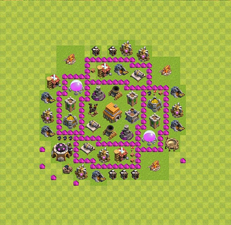 Base plan (layout) for trophies collecting TH  6 (Town Hall level 6, TH 6), variant 21