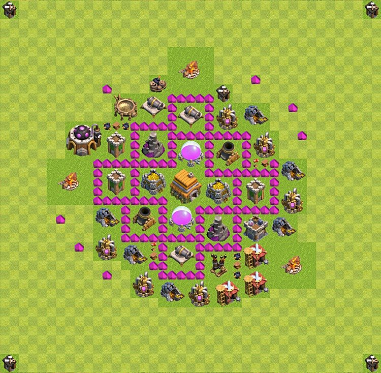 Base plan (layout) for trophies collecting TH  6 (Town Hall level 6, TH 6), variant 22