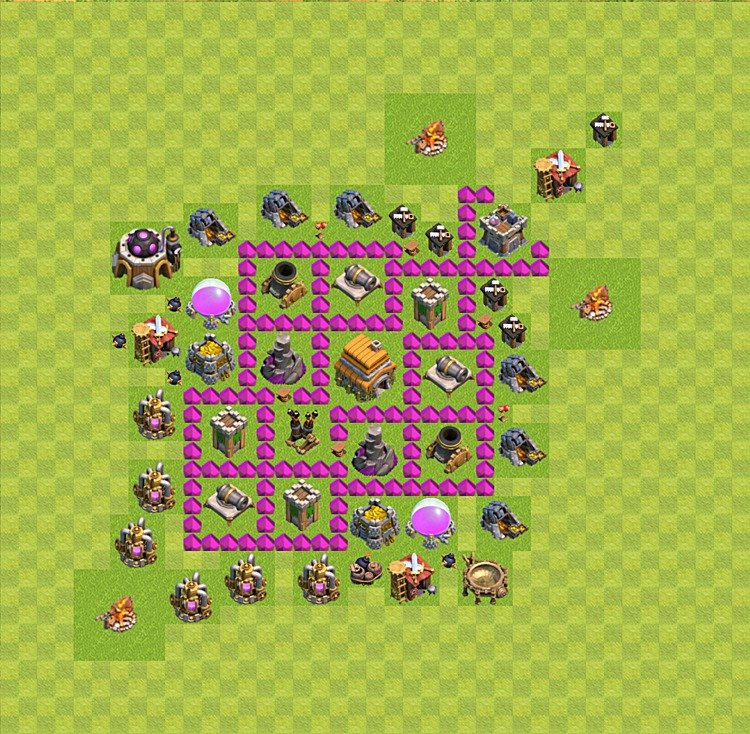 Base plan (layout) for trophies collecting TH  6 (Town Hall level 6, TH 6), variant 24