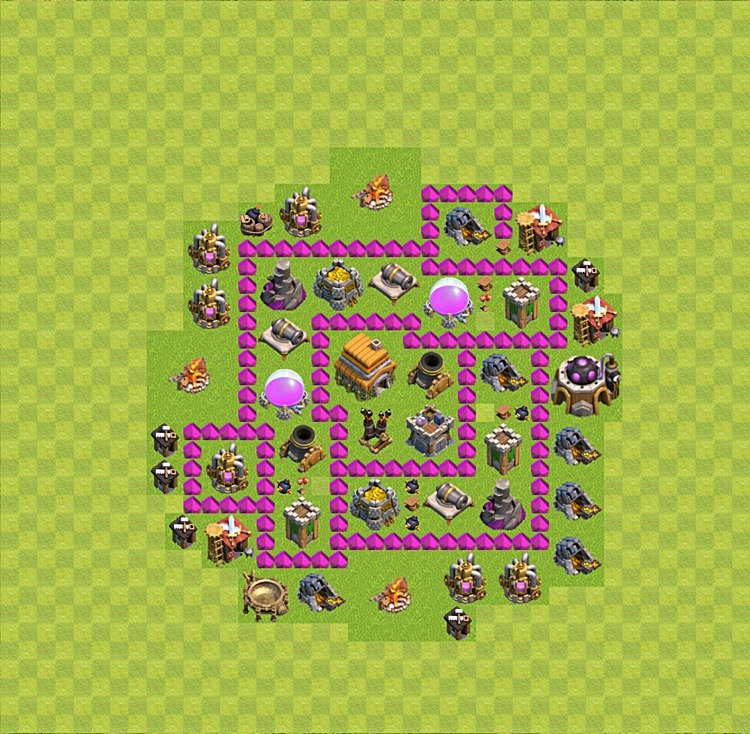 Base plan (layout) for trophies collecting TH  6 (Town Hall level 6, TH 6), variant 25