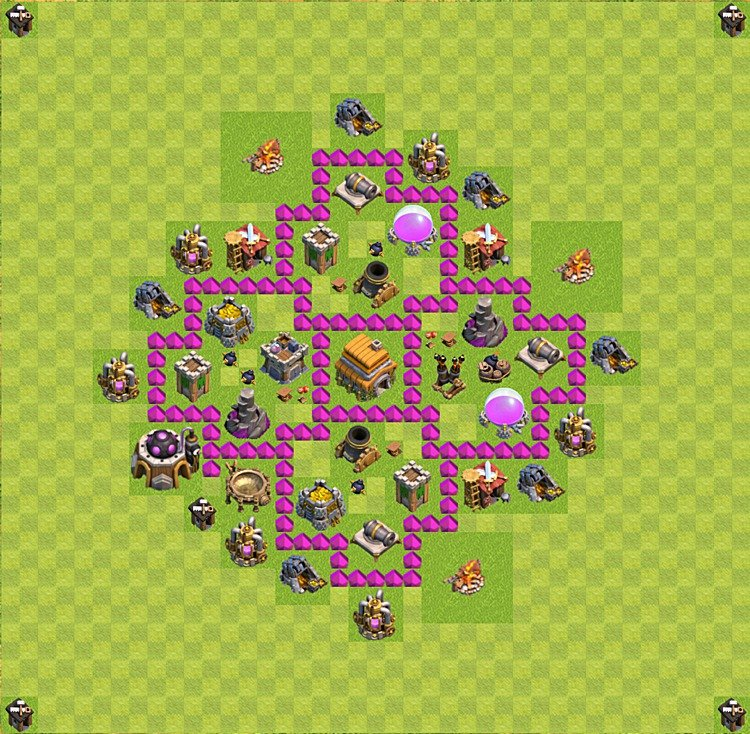 Base plan (layout) for trophies collecting TH  6 (Town Hall level 6, TH 6), variant 26