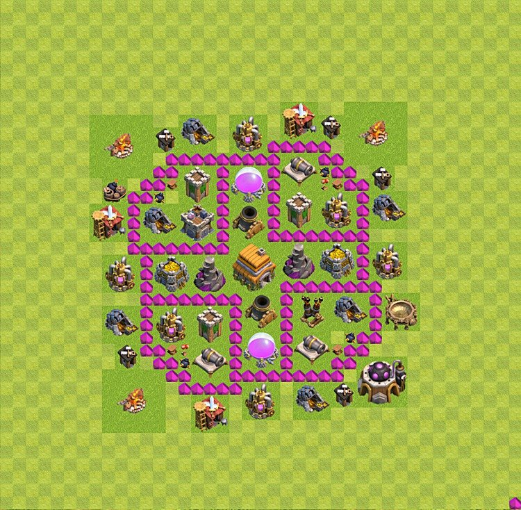 Base plan (layout) for trophies collecting TH  6 (Town Hall level 6, TH 6), variant 27
