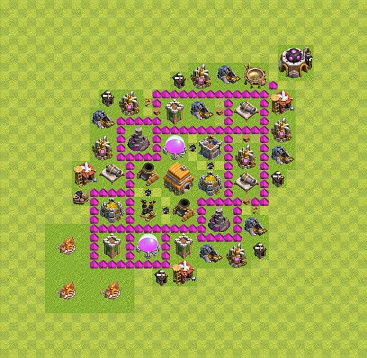 Base plan (layout) for trophies collecting TH  6 (Town Hall level 6, TH 6), variant 29