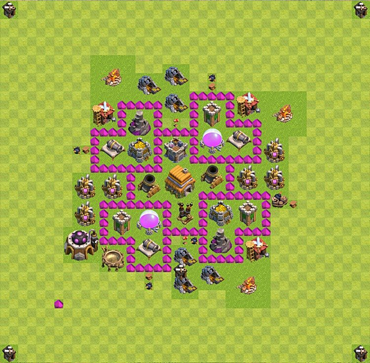 Base plan (layout) for trophies collecting TH  6 (Town Hall level 6, TH 6), variant 30