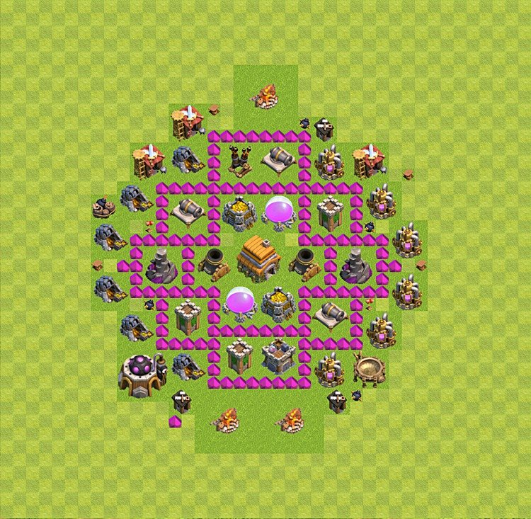 Base plan layout for trophies collecting th 6 town hall level 6 th