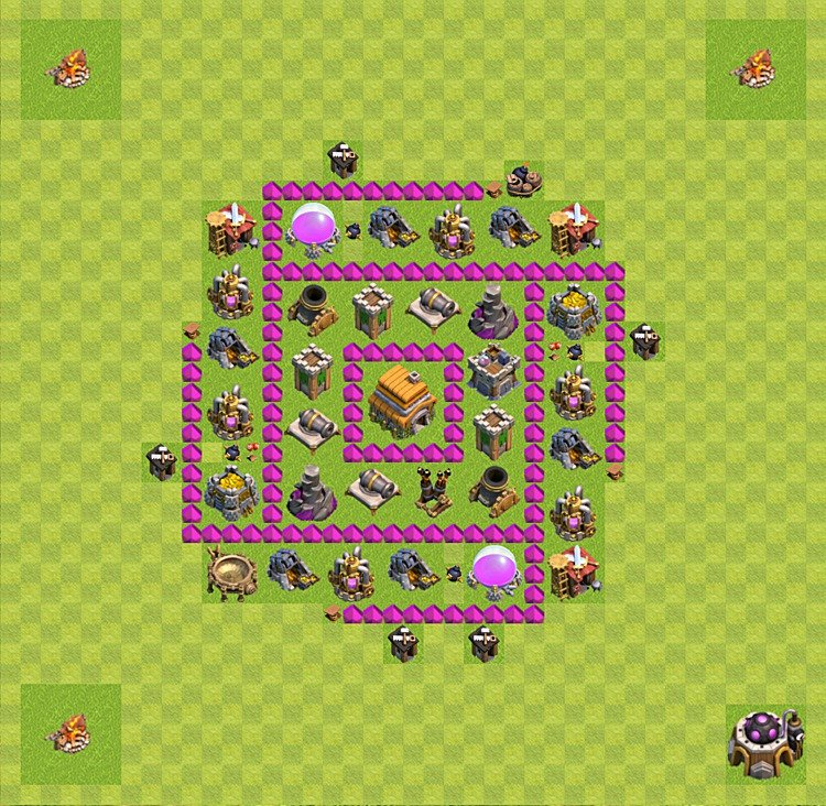 Base plan (layout) for trophies collecting TH  6 (Town Hall level 6, TH 6), variant 34