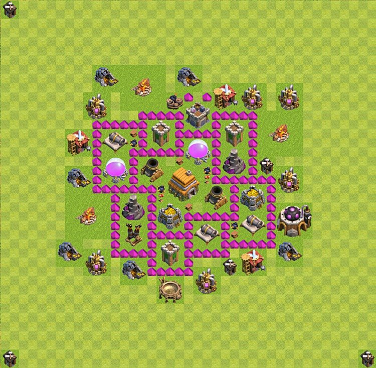 Base plan (layout) for trophies collecting TH  6 (Town Hall level 6, TH 6), variant 35
