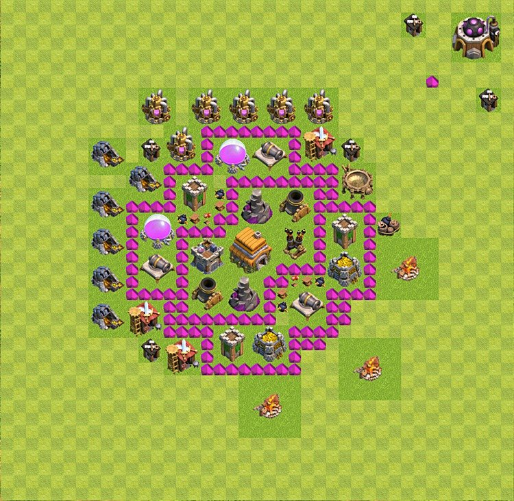 Base plan (layout) for trophies collecting TH  6 (Town Hall level 6, TH 6), variant 37
