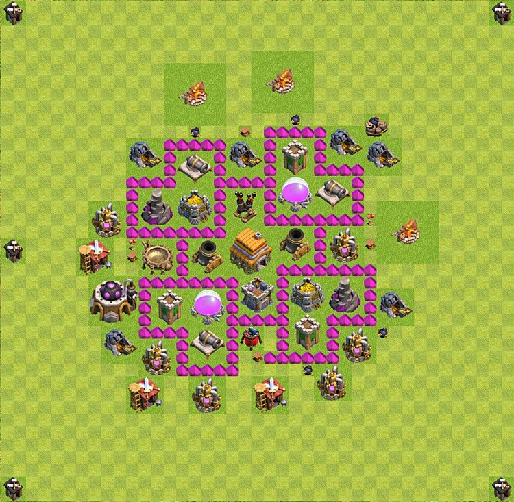 Base plan (layout) for trophies collecting TH  6 (Town Hall level 6, TH 6), variant 40