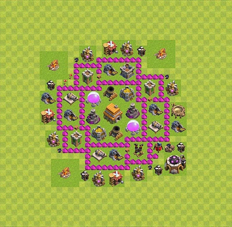 Base plan (layout) for trophies collecting TH  6 (Town Hall level 6, TH 6), variant 41