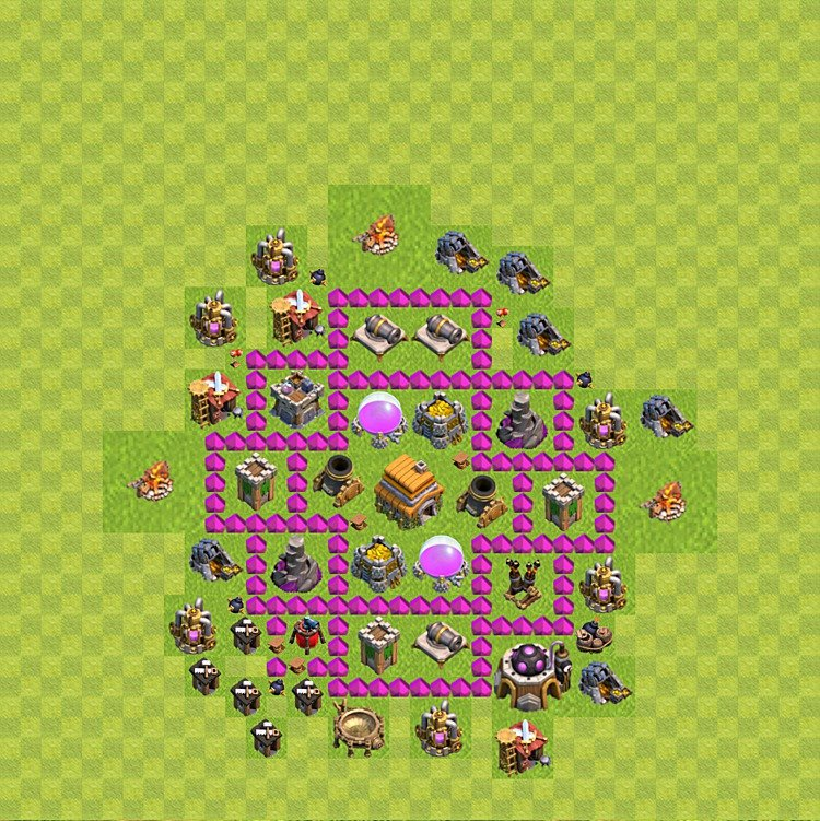 Base plan (layout) for trophies collecting TH  6 (Town Hall level 6, TH 6), variant 44