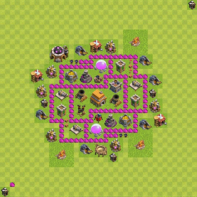 Base plan (layout) for trophies collecting TH  6 (Town Hall level 6, TH 6), variant 45