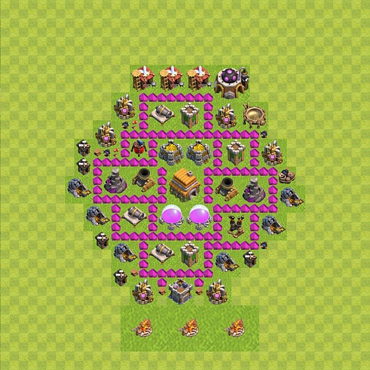 Base plan (layout) for trophies collecting TH  6 (Town Hall level 6, TH 6), variant 46