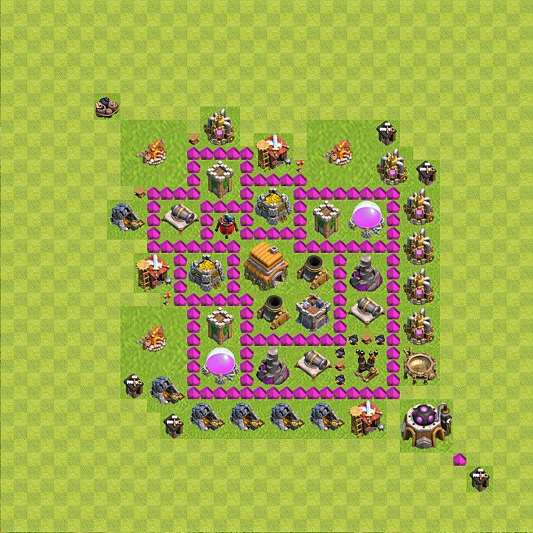Base plan (layout) for trophies collecting TH  6 (Town Hall level 6, TH 6), variant 48