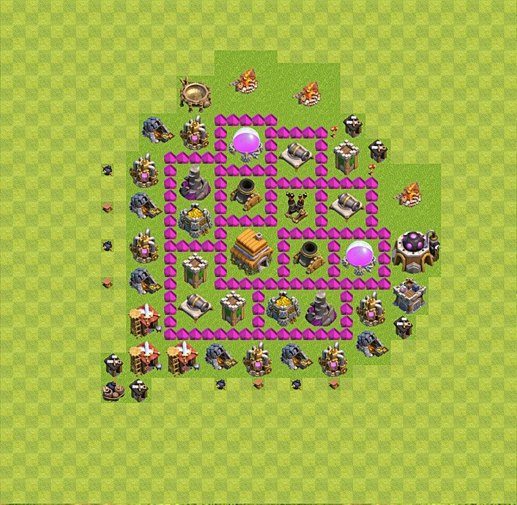 Base plan (layout) for trophies collecting TH  6 (Town Hall level 6, TH 6), variant 5