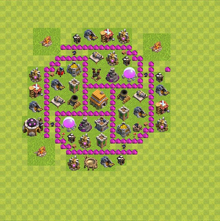 Base plan (layout) for trophies collecting TH  6 (Town Hall level 6, TH 6), variant 51