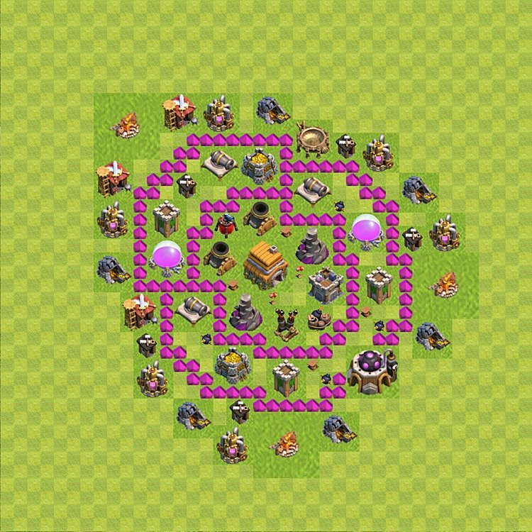 Base plan (layout) for trophies collecting TH  6 (Town Hall level 6, TH 6), variant 53
