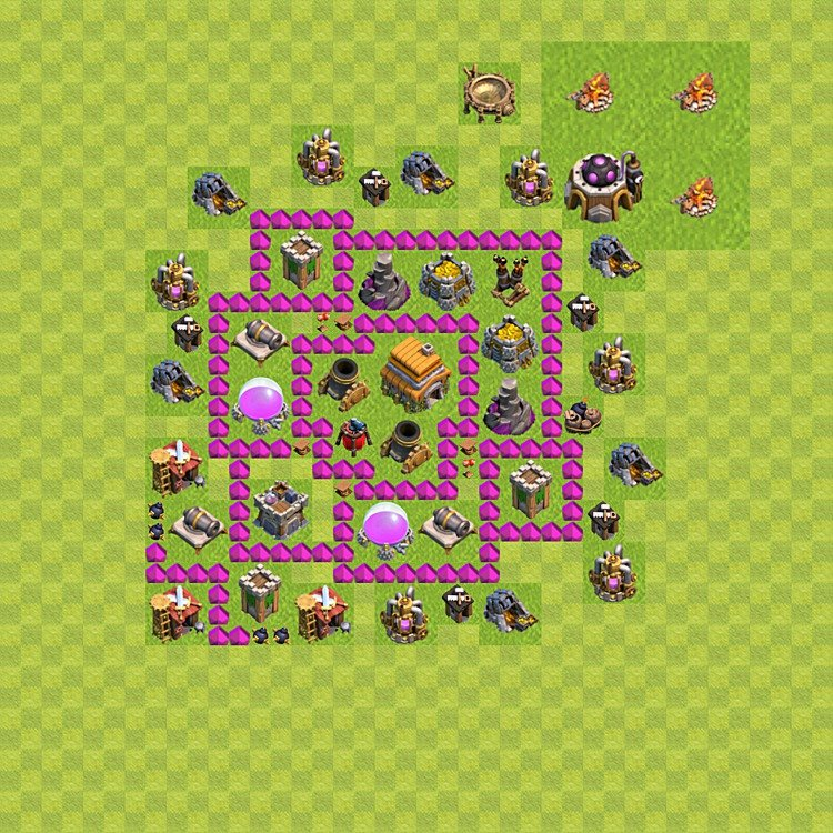 Base plan (layout) for trophies collecting TH  6 (Town Hall level 6, TH 6), variant 57