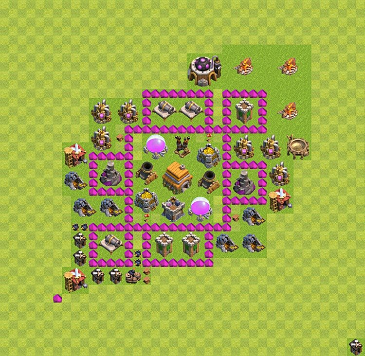 Base plan (layout) for trophies collecting TH  6 (Town Hall level 6, TH 6), variant 6