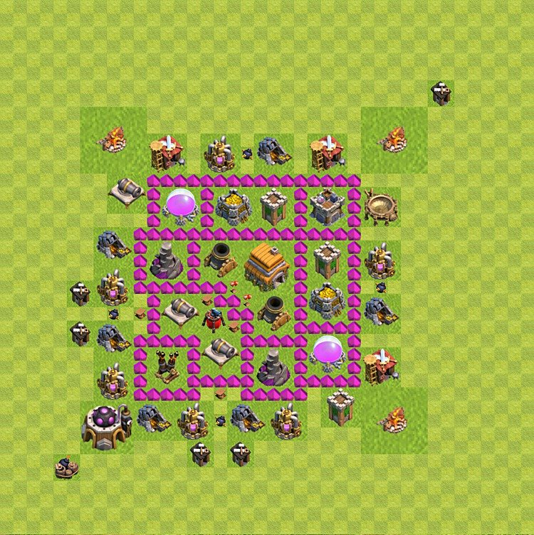 Base plan (layout) for trophies collecting TH  6 (Town Hall level 6, TH 6), variant 60
