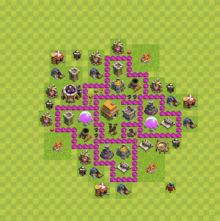 Base plan (layout) for trophies collecting TH  6 (Town Hall level 6, TH 6), variant 63