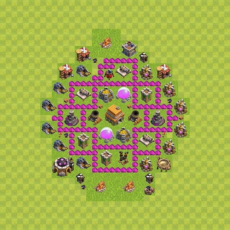 TH6 Trophy Base Plan, Town Hall 6 Base Design, #64