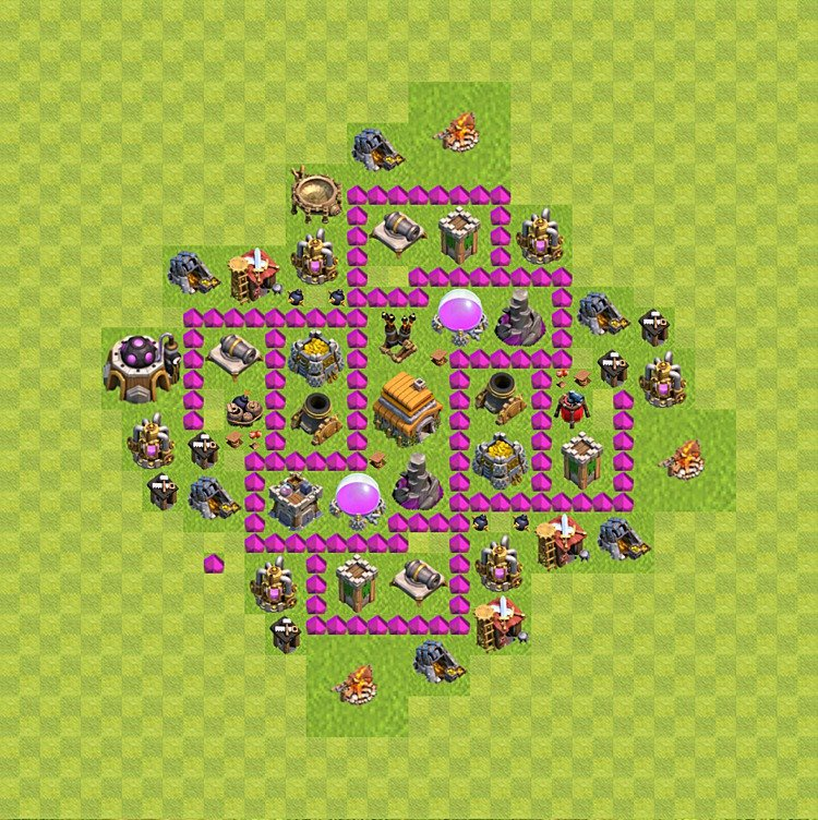 Base plan (layout) for trophies collecting TH  6 (Town Hall level 6, TH 6), variant 65