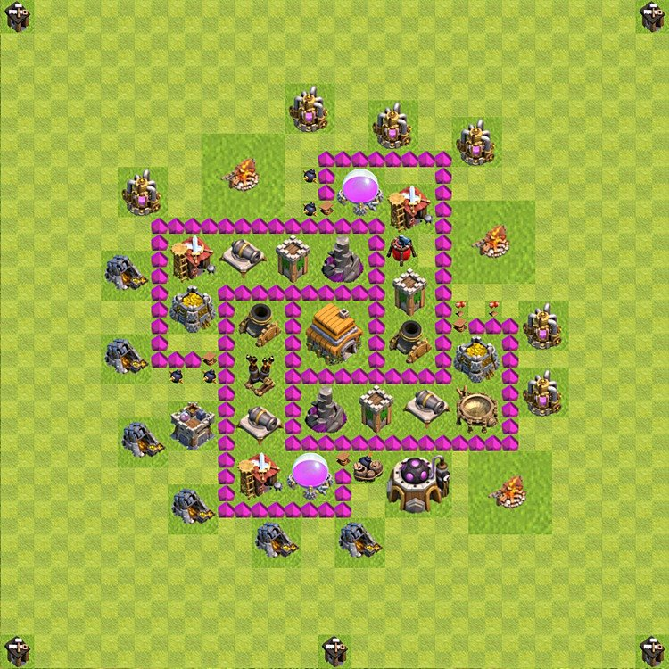 base plan town hall level 6 for trophies defence variant 66 - Layout Cv 4 Clash Of Clans