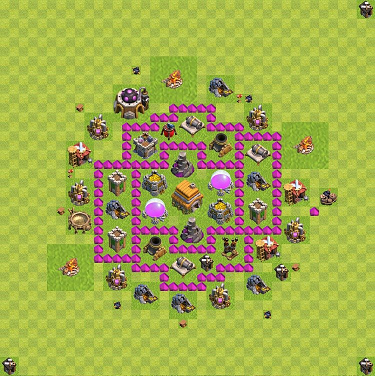 Base plan (layout) for trophies collecting TH  6 (Town Hall level 6, TH 6), variant 67