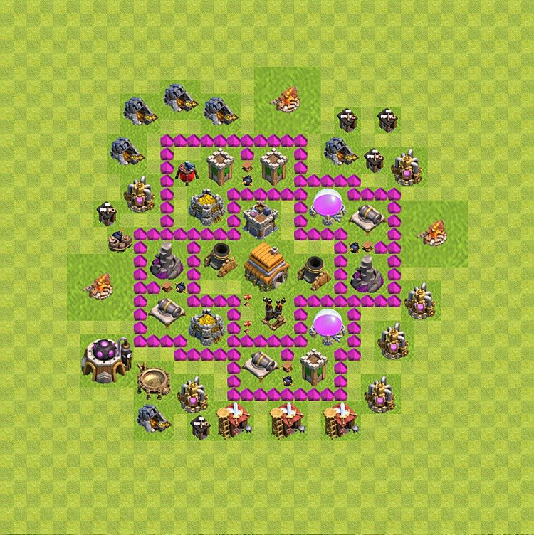 Base plan (layout) for trophies collecting TH  6 (Town Hall level 6, TH 6), variant 68