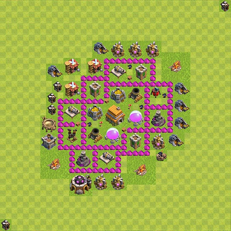 Base plan (layout) for trophies collecting TH  6 (Town Hall level 6, TH 6), variant 70