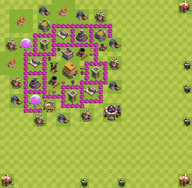 Base plan (layout) for trophies collecting TH  6 (Town Hall level 6, TH 6), variant 8