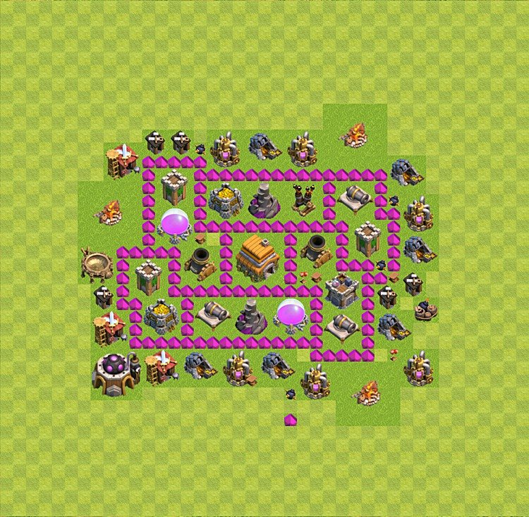 Base plan (layout) for trophies collecting TH  6 (Town Hall level 6, TH 6), variant 9