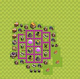 Base plan Town Hall level 6 for farming (variant 1)