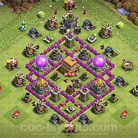 Base plan TH6 Max Levels with Link for Farming 2021, #142