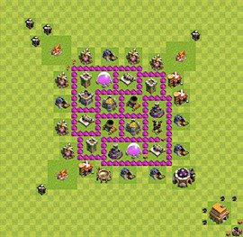 Base plan Town Hall level 6 for farming (variant 3)