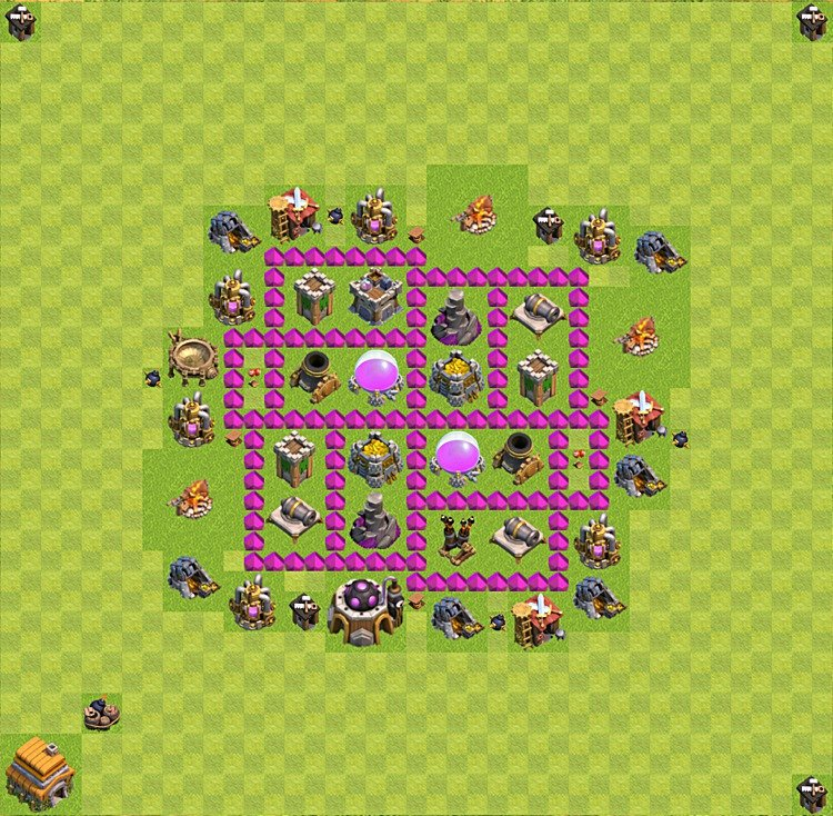 Base plan (layout) for farming TH 6 (Town Hall level 6), TH, th}), variant 14