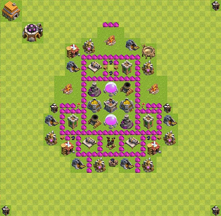 Base plan (layout) for farming TH 6 (Town Hall level 6), TH, th}), variant 17