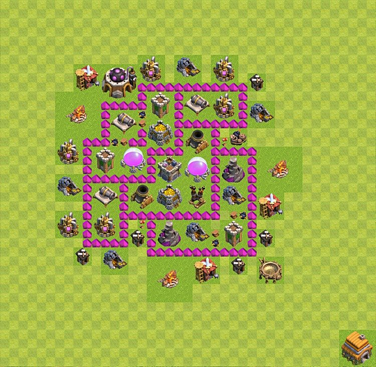Base plan (layout) for farming TH 6 (Town Hall level 6), TH, th}), variant 26