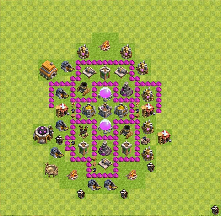 Base plan (layout) for farming TH 6 (Town Hall level 6), TH, th}), variant 28