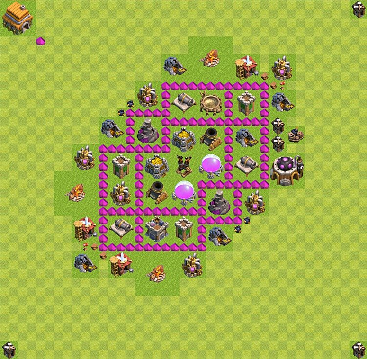 Base plan (layout) for farming TH 6 (Town Hall level 6), TH, th}), variant 30