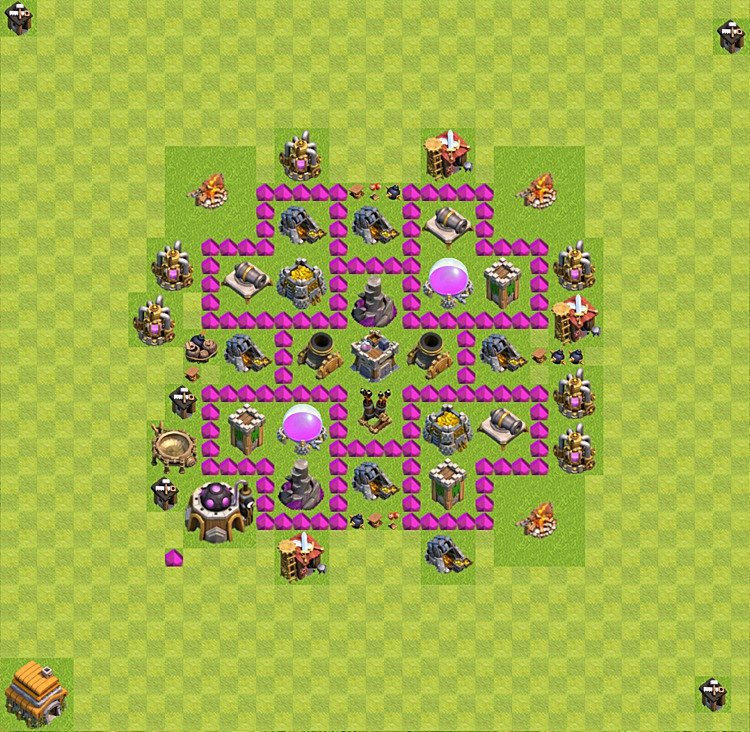 Base plan (layout) for farming TH 6 (Town Hall level 6), TH, th}), variant 36