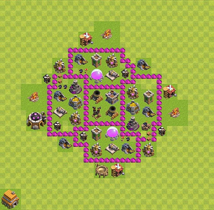 Base plan (layout) for farming TH 6 (Town Hall level 6), TH, th}), variant 37