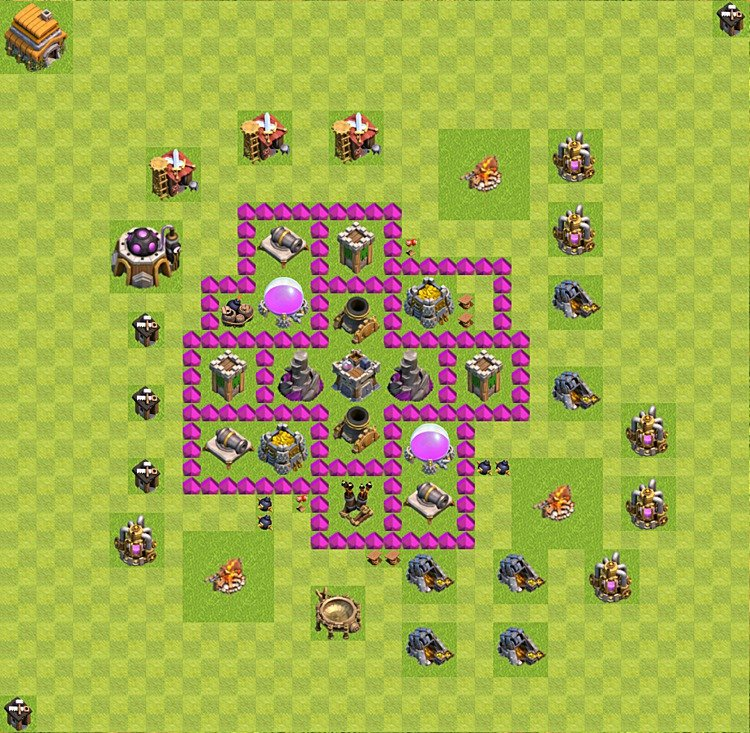 Base plan (layout) for farming TH 6 (Town Hall level 6), TH, th}), variant 38