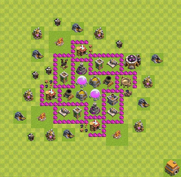 Base plan (layout) for farming TH 6 (Town Hall level 6), TH, th}), variant 4