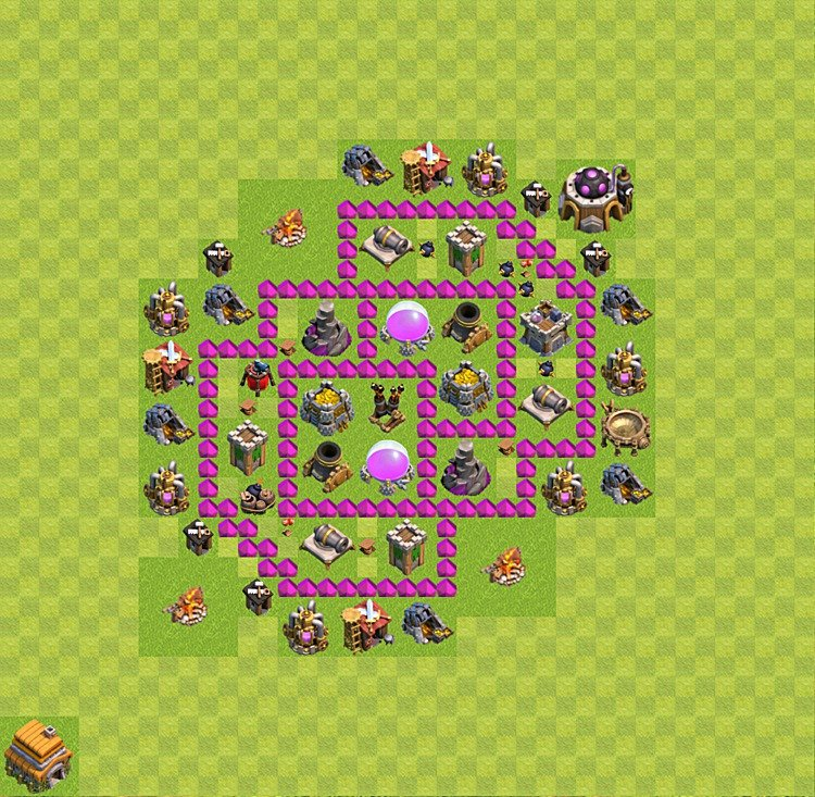 Base plan (layout) for farming TH 6 (Town Hall level 6), TH, th}), variant 43
