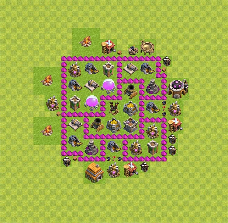 Base plan (layout) for farming TH 6 (Town Hall level 6), TH, th}), variant 5