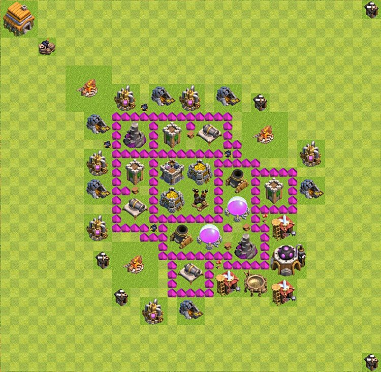 Base plan (layout) for farming TH 6 (Town Hall level 6), TH, th}), variant 7