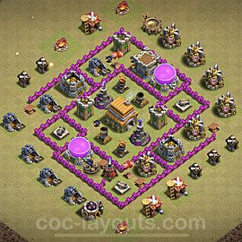 TH6 Anti 3 Stars CWL War Base Plan with Link, Copy Town Hall 6 Design 2020, #16