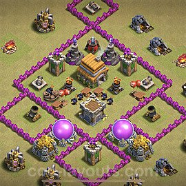 TH6 Anti 3 Stars War Base Plan with Link, Copy Town Hall 6 Design 2021, #23
